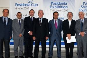 From the left to right: John Maragoudakis, President of HORC; Apostolos Poulovasilis, Regional Marine Manager EMEA Lloyd's Register; David G. Moorhouse, President of the Lloyds Register; Theodore E. Veniamis, President of the Union of Greek Shipowners; Apostolos Ventouris, President of Union of Marine Enterprises; John C. Lyras, Ex President of the Union of Greek Shipowners and currently member of its Board; Themistocles Vokos, Chairman Posidonia Exhibitions (Photo courtesy Posidonia Press Offi