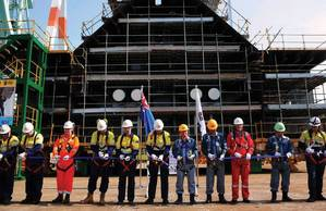 Happier Times: In May 2013 the price per barrel of oil was more than $100 and Shell ha laid the keel for Prelude FLNG, the world's first floating liquefied natural gas (FLNG) project. (Courtesy of  Royal Dutch Shell)