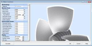 Pattern Corrections is used to expand and thicken propeller designs to create machining models and casting patterns. Individual control is provided for separate blade parameters. (Image: HydroComp)
