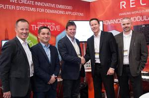 From left: Bjørn Espen Aase, Country Manager RECAB; Andrés Lara, Project Department Manager, AKVA Group; Sigurd Larsen, Supply Chain Manager, AKVA Group; Michael Ullskog, CEO, RECAB; and Nils Gjørvad, Sr. Key Account Manager, RECAB (Photo: RECAB)