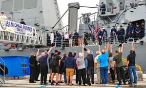 Protecteur civilians cheer USS Michael Murphy: Photo credit USN