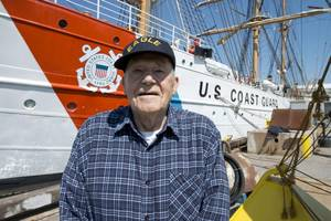 Jim Briggs, One of the Eagle's first American crewmembers, returns to the vessel after 66 years (Photo: Jasmine Mieszala)
