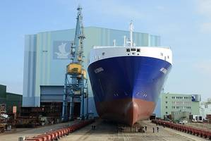 "Roll-out at Volkswerft Stralsund: New building vessel 500 is a RoRo special ship for the Danish shipping company DFDS and will later be christened ""Ark Germania."" (Photo: P+S Werften)"