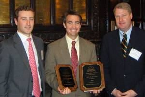 The Shipbuilders Council of America present the Award for Excellence in Safety and the Award for Improvement in Safety for 2009 to Bollinger executive vice president, Chris Bollinger during the April 2010 meeting held in Washington, D.C.  (Pictured left to right: Ian Bennitt, SCA - Manager Government Affairs; Chris Bollinger, Bollinger Shipyards - Executive Vice President; and Matthew Paxton, SCA - President.) Photo courtesy Bollinger Shipyards