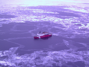 An aerial view of Coast Guard Cutter Healy in Arctic waters. Photo courtesy of NOAA.