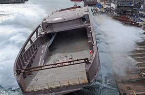 LNG-powered ferry launch: Photo credit Remontowa Shipbuilding