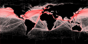 Global shipping routes crisscross the world's oceans in this map of shipping lanes derived from a 2008 study of the human impact on marine ecosystems. (Credit: Grolltech)