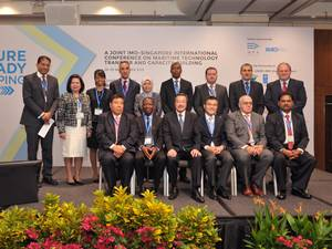 Representatives from IMO, the lead pilot countries and Singapore at the GloMEEP launch (Photo: IMO)