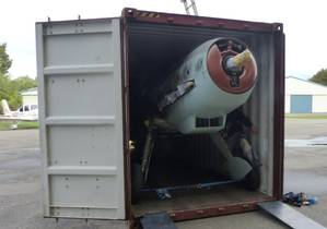 For the trip, the plane's wings were removed and the body and all disassembled parts were stowed in a 40-foot cube container. (Photo: Hapag-Lloyd)