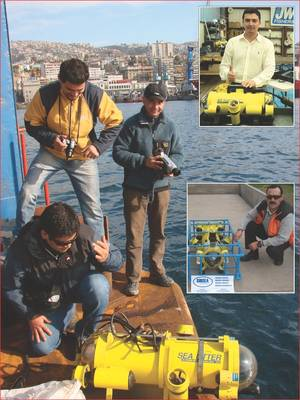 Chile's Fernando Landeta of Landmarine (r) with Fisher SeaOtter ROV; Top inset – Ecuador's Edwin Ortega with his new SeaOtter-2 ROV at Fishers factory; Center inset; Chile's Pedro Campos of Subsea Engineering with his SeaLion ROV in crash cage