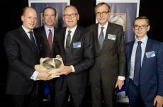 (l-r) Philip Oetker, Keith McLoughlin (President & CEO, Electrolux), Bjorn Vang Jensen, Dr Ottmar Gast and Gregoire Letort (Chief Purchasing Officer, Electrolux).
