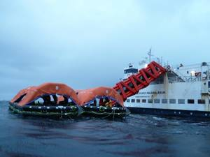 SurvitecZodiac MES escape slide and rafts during heavy weather sea trials (Photo courtesy of Survitec)