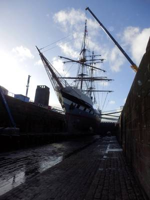 Tall ship Stavros S Niarchos in for general maintenance and repairs