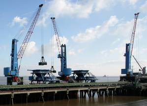 Terex Port Solutions will supply two Terex Gottwald Modell 8 portal harbour cranes in the G HSK 8424 B four-rope grab variant to Associated British Ports.Photo ABP