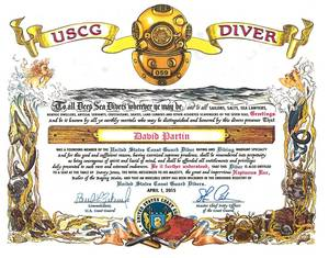 The Coast Guard diver rating and specialty was established Wednesday. Coast Guard members recognized as DV or DIV were presented a personalized certificate..jpg