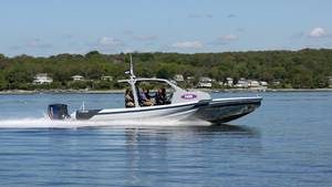 The Sea Blade 35 is put through its paces on Narragansett Bay, May 29, 2015 (NavatekNEB photo).