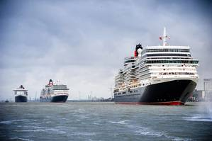 Three of the world's largest and grandest ocean liners - the Queen Mary 2, the Queen Elizabeth and the Queen Victoria  - paid a historic visit to salute the city of Liverpool, the original home of their owners, cruise-line