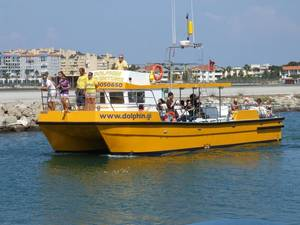 Tourists leave Gibraltar on Dolphin Adventurer 2 to view local sea life.jpg