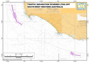 Traffic Separation Schemes south-west WA Image courtesy AMSA