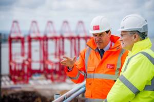 Transport Minister Andrew Jones (right) with Warren Marshall, Group Planning Director at Peel Ports, overlooking the port (Photo: Peel Ports Group)