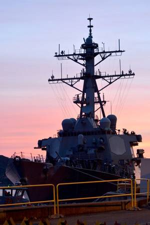 USS Fitzgerald (DDG 62) returns to Fleet Activities (FLEACT) Yokosuka following a collision with a merchant vessel while operating southwest of Yokosuka, Japan. (U.S. Navy photo by Mass Communication Specialist 1st Class Peter Burghart/Released)