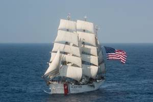 The U.S. Coast Guard barque Eagle sails in the Atlantic Ocean on Thursday, July 30, 2015. (U.S. Coast Guard photo by Auxiliarist David Lau, Public Domain)