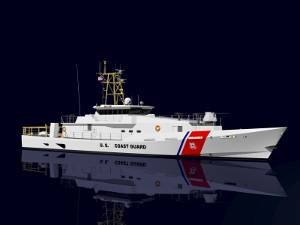 Artist's rendition of the Sentinel Class 154 ft. Patrol Boat for the U.S. Coast Guard, being built by Bollinger Shipyards, Inc. (Photo courtesy Bollinger / Damen)