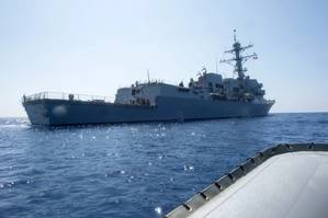 File Image: In a recent photo, the USS Dewey patrols in the South China Sea. (CREDIT: USN)