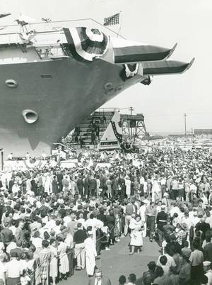 Enterprise (CVAN-65) was christened on Saturday, 24 September 1960. (Photo: Ron Reeves)
