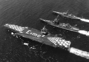 Nuclear-powered warships Enterprise, Long Beach and Bainbridge steam in formation, 1964. (Official U.S. Navy Photograph, from the Collections of the Naval History and Heritage Command.)