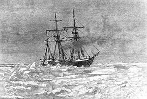 Entering the Ice Engraving by George T. Andrew after a design by M.J. Burns, copied from The Voyage of the Jeannette ..., Volume I, page 117, edited by Emma DeLong, published in 1884. It depicts USS Jeannette entering the Arctic Ice, near Herald Island (about 72N, 175W), on 6 September 1879. (U.S. Naval Historical Center Photograph.)