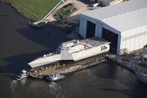 USS Omaha Littoral Combat Ship during launch at Austal USA's facility in Gulfport. In addition, sister LCS USS Jackson was recently commissioned in Gulfport. Both ships are powered by GE LM2500 gas turbines. Photo courtesy of Austal USA.