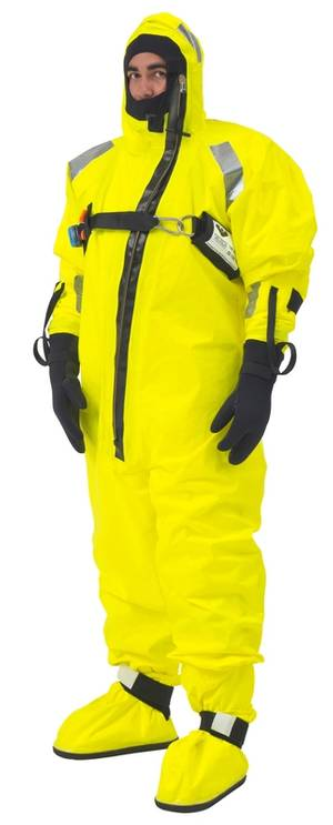 VIKINGs multi-layer flagship immersion suit in hi vis yellow approved without a lifejacke