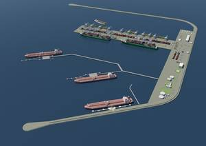 An artist's rendering of the completed VOOPS project offshore port.  (Image credit: Venice Port Authority)