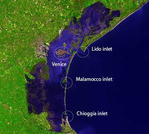 Venice & Lagoon Inlets:Image courtesy of NASA
