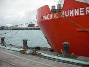 Vessel moored at Port Taranaki using SmartLoad® boss mooring link.JPG