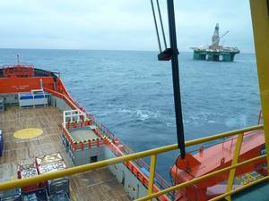View from the helm of Viking Lady at work in the North Sea. Courtesy of Corvus Energy