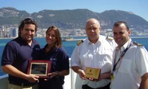 From left to right: Christopher Lugnani, Wilhelmsen Ships Service Senior Ships Coordinator,Portia Walton, Bunker Surveyor, Port Auxiliary Services, Capt Vyodor Popov of the River Phoenix, Victor Calderon, Dock Controller, Gibraltar Port Authority. Photo courtesy Wilhelmsen Ships Service
