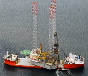 Prospector 1 arrives by ship in the Cromarty Firth. (Photo courtesy of WTS)