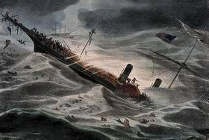 J. Childs painting of SS Central America sinking in 1857. (National Maritime Museum, London)