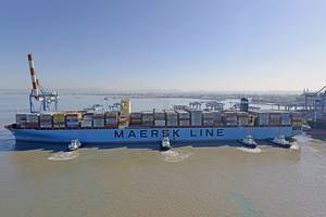 The 13,092 TEU Maersk Elba is the largest ship to call in Israel (Photo: Haifa Port Company)