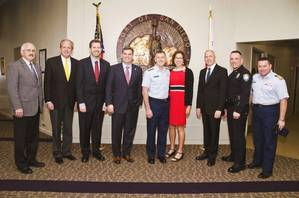 Lleft to right: Robert Monson, Port Auditor; Thomas Russell, Port General Counsel; Thomas Gresham, Port Technology Security Supervisor; Dan Malcolm, Chairman of the Board of Port Commissioners, Admiral and Mrs. Zukunft; John Bolduc, Acting President/CEO; Mark Stainbrook, Acting Chief of Police and Captain Jonathan Spaner, Commander, Coast Guard Sector San Diego (Photo: Arash Afshar)