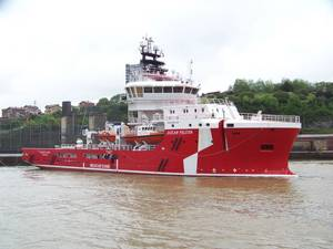 Ocean Falcon, the latest vessel to be launched as part of Atlantic Offshore Rescue's fleet modernization program (Photo: Atlantic Offshore)