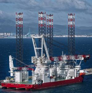 Seajacks Scylla, the largest and most advanced windfarm installation jack-up ever built. (Photo: Gibdock)