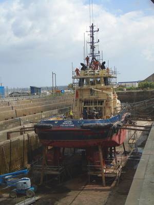 Svitzer Bentley undergoing repairs. (Photo: Svitzer)