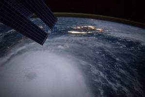 The eye of Hurricane Joaquin is visible in the lower left corner of this image taken from the International Space Station October 2, 2015. (Photo: NASA)