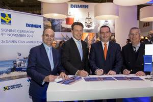 left to right: Mijndert Wiesenekker (Damen), Arnout Damen (Damen), Leendert Muller (Multraship), Kees Muller (Multraship). (Photo: Damen)
