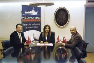 Left to right: Oben Naki - Contracts Manager, Robert Allan Ltd.; Yıldız BOZKURT - Deputy General Manager, Med Marine; and Ertuğrul ÇETİN - Procurement Manager, Med Marine (Photo: Robert Allan Ltd.)