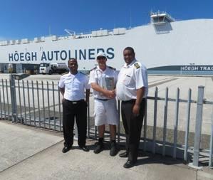 Port of Durban marine pilot Rainer Rauntenberg (center) with Port of Durban Harbor Master Captain Alex Miya (left) and Deputy Harbor Master Captain Justin Adams (right). (Photo: Transnet National Ports Authority)