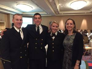 Left to Right: CMA cadets Griffin Sims, Alex Leonard, Bonnie Claire Muchnick and Crowleys Victoria Ellis (Photo: Crowley)